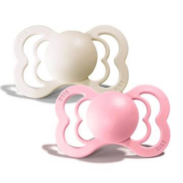 Bilde av Bibs Supreme 2-pk Silikon Sutt - Ivory/Baby Pink